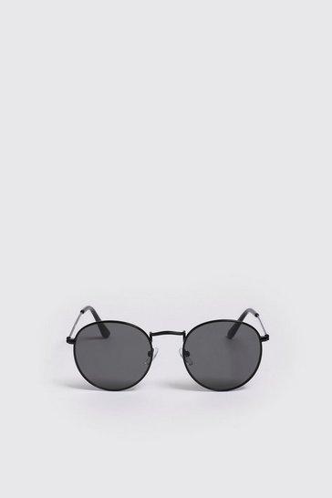 Black Mirror Lens Round Sunglasses