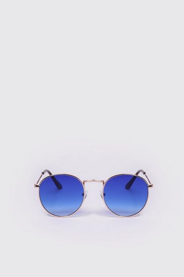 Blue Mirror Lens Round Sunglasses