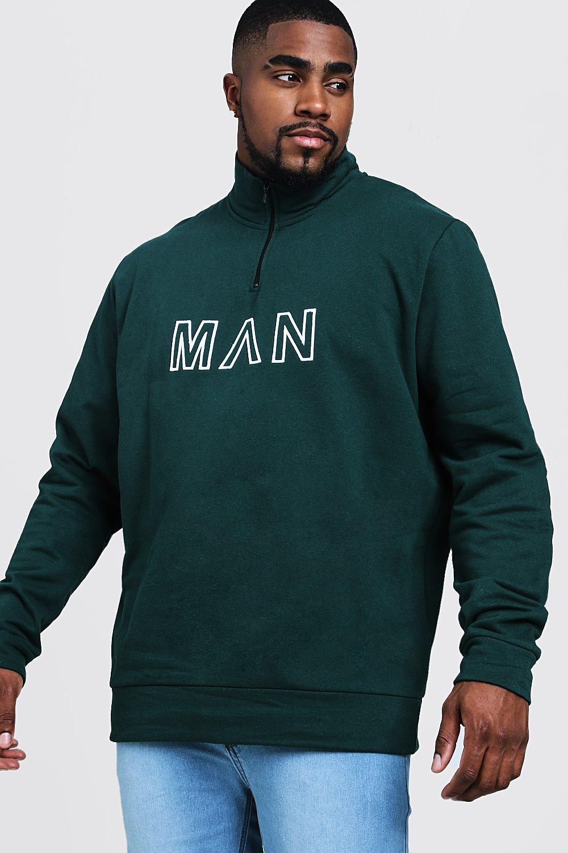 Купить Hoodies and Sweats, Большие размеры и ростовки - Спортивный топ c воротником-трубой и с вышивкой MAN, boohoo