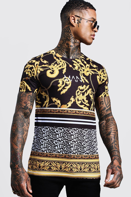 Купить T Shirts, Оригинальные футболки Man в стиле барокко с леопардовым принтом, boohoo