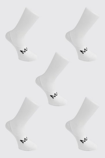 White MAN Dash 5 Pack Invisible Socks