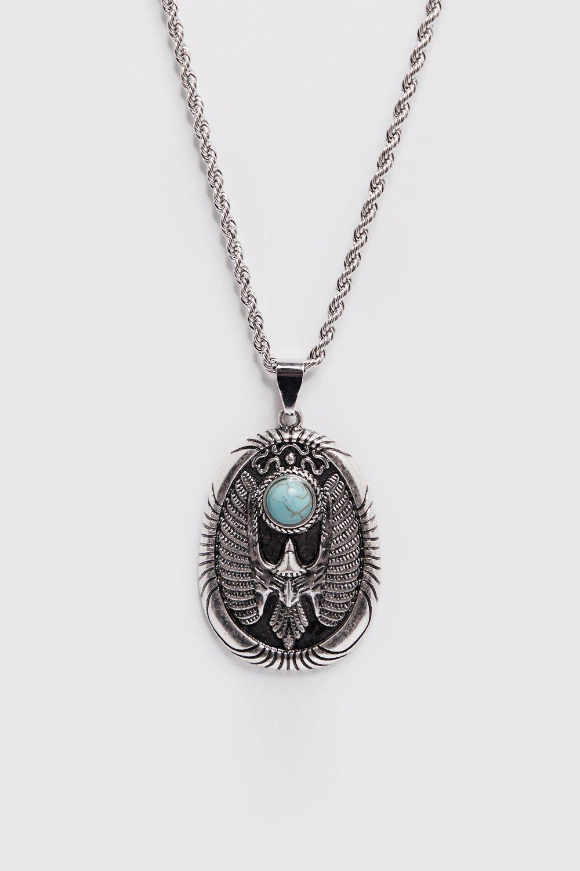 Купить Jewellery, Blue Stone Detail Pendant Necklace, boohoo