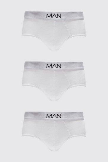 White 3 Pack MAN Dash Briefs