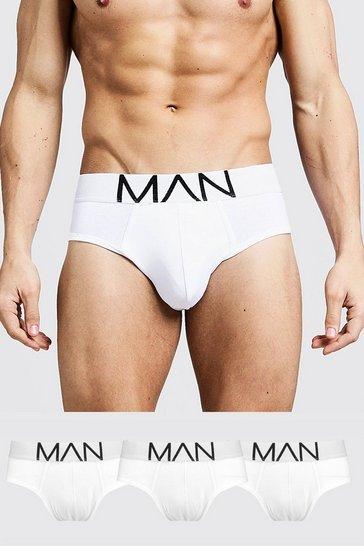 White 3 Pack MAN Logo Briefs