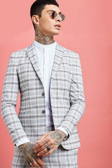 Grey Pastel Check Detail Skinny Fit Suit Jacket