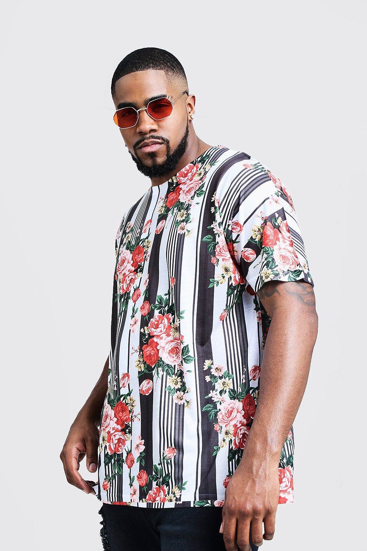 Купить T Shirts, Big & Tall Vertical Stripe Rose Print Jersey Tee, boohoo