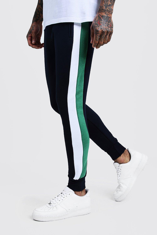 Купить Slim Fit Side Panel Jersey Joggers, boohoo