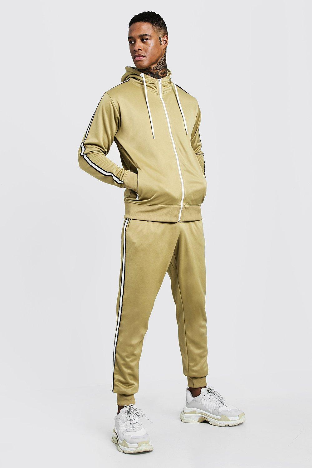 Купить Tracksuits, Tricot Zip Through Tracksuit With Tape Detail, boohoo