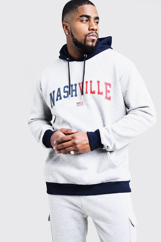 Купить со скидкой Большие размеры и ростовки - Толстовка с капюшоном с принтом Nashville