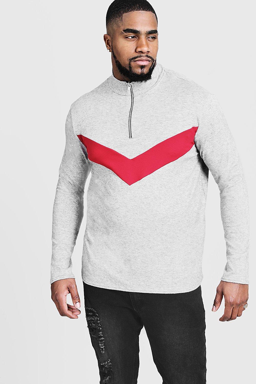 Купить со скидкой Большие размеры и ростовки - Вязаный свитер с шевронами на молнии до половины длины
