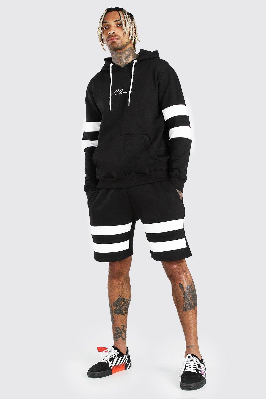 Спортивный костюм MAN с шортами в контрастную полоску фото