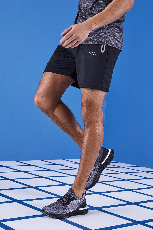 Купить MAN Active Mid Length Shorts, boohoo