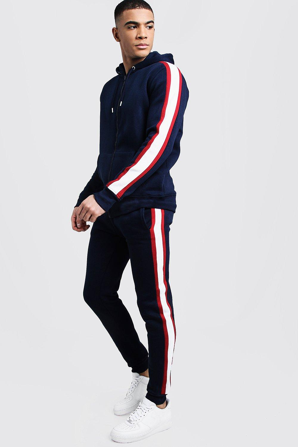 Купить Tracksuits, Zip Hooded Tracksuit With Contrast Panel Sleeves, boohoo
