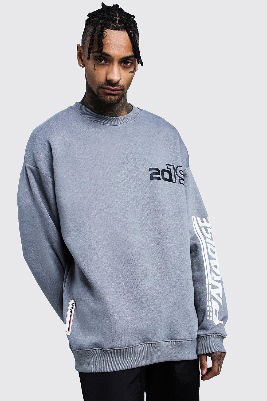 Купить Hoodies and Sweats, Paradise 2019 Sleeve Print Sweatshirt, boohoo