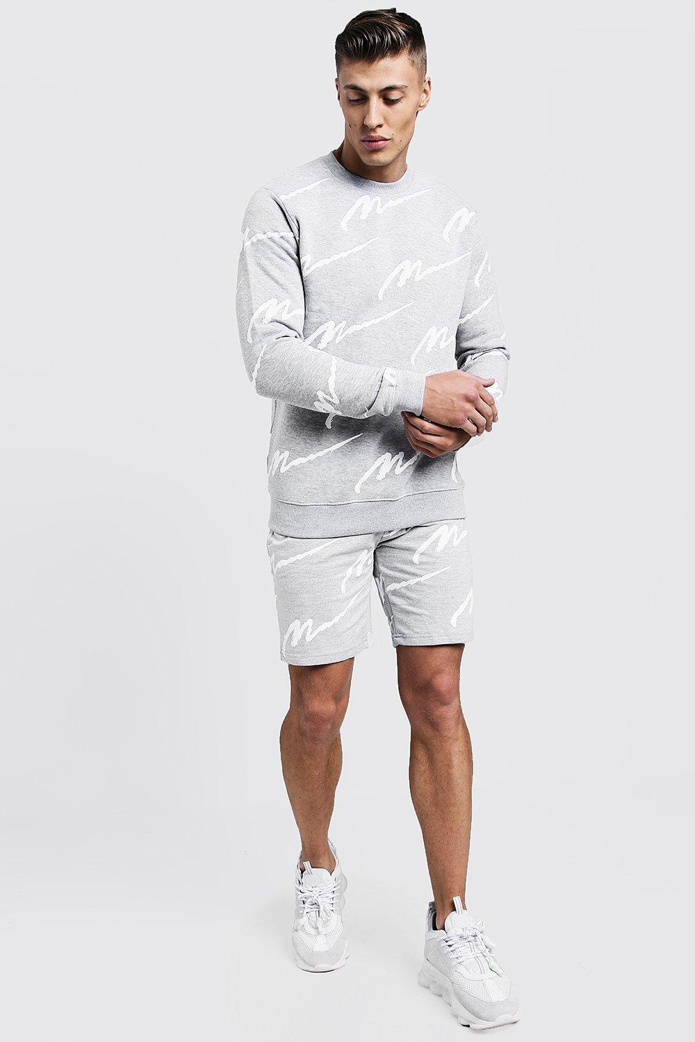Купить Tracksuits, All Over MAN Print Sweater Short Tracksuit, boohoo