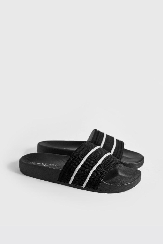 Купить Footwear, Mesh Sport Stripe Slider, boohoo