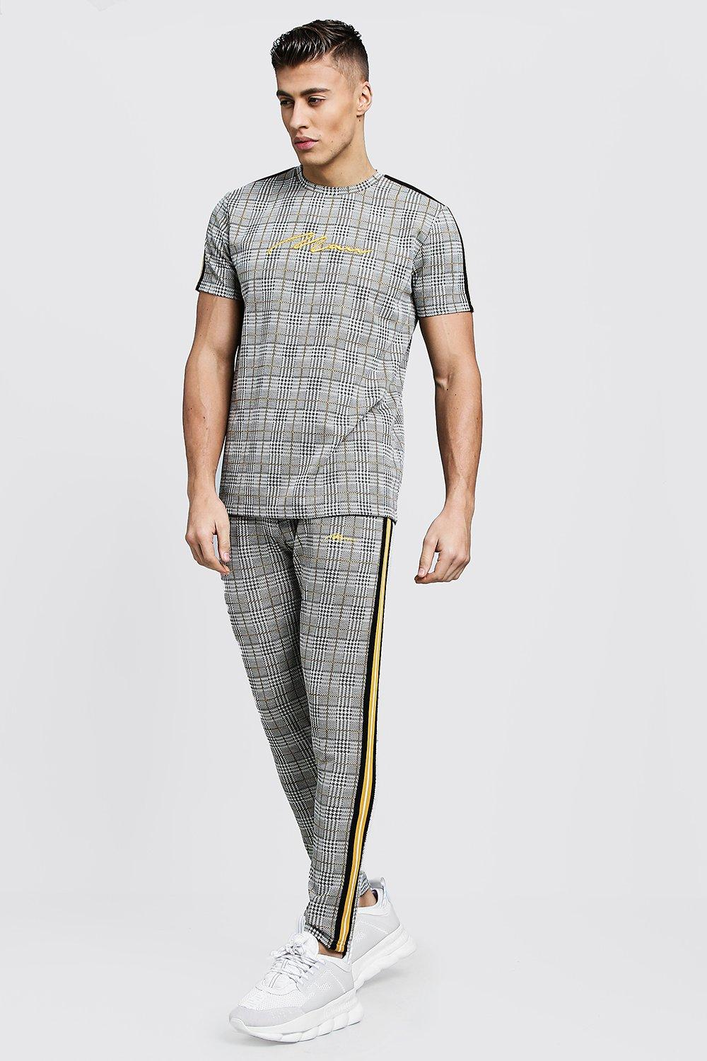 Купить Tracksuits, MAN Signature Check T-Shirt Tracksuit With Tape, boohoo