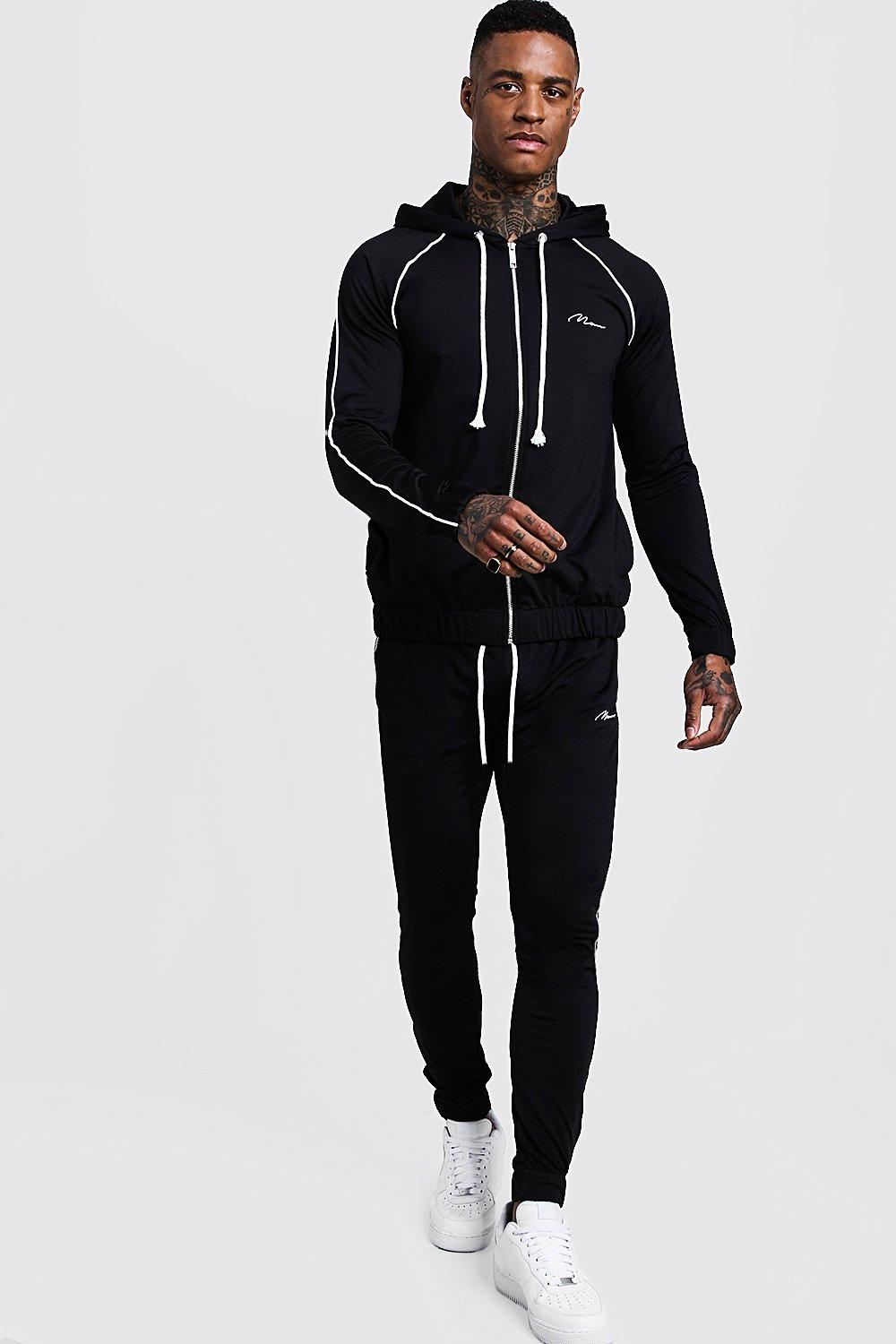 Купить Tracksuits, MAN Signature Zip Hooded Tracksuit With Piping, boohoo