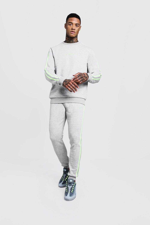 Купить Tracksuits, MAN Signature Sweater Tracksuit With Tape, boohoo