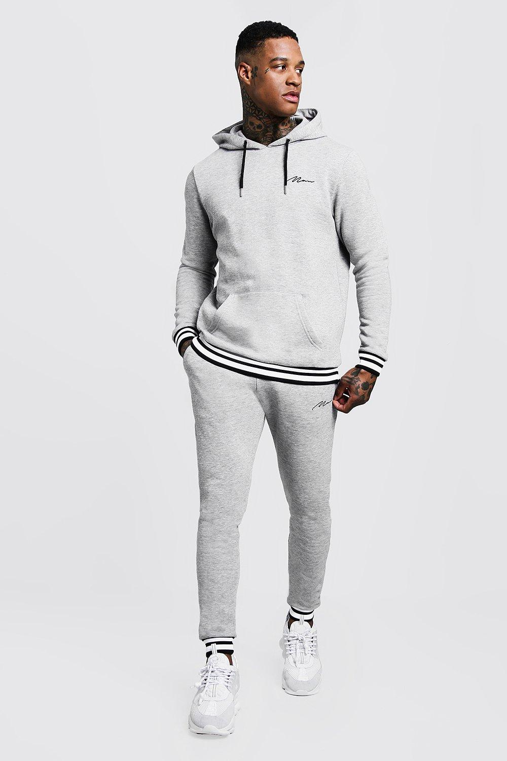 Купить Tracksuits, MAN Signature Hooded Tracksuit With Contrast Rib, boohoo