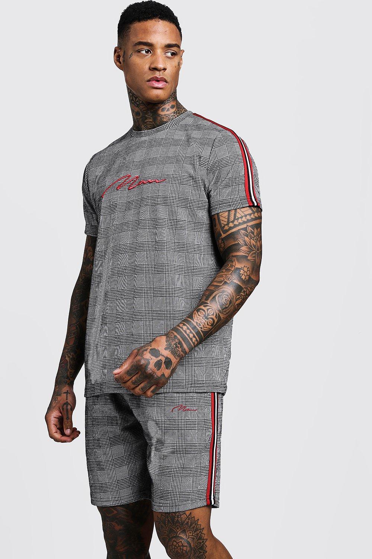 Tracksuits, MAN Signature Check T-Shirt & Short Set With Tape, boohoo  - купить со скидкой