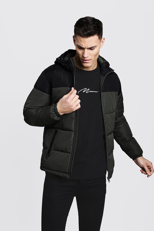 Купить Outerwear, Colour Block Hooded Puffer Jacket, boohoo
