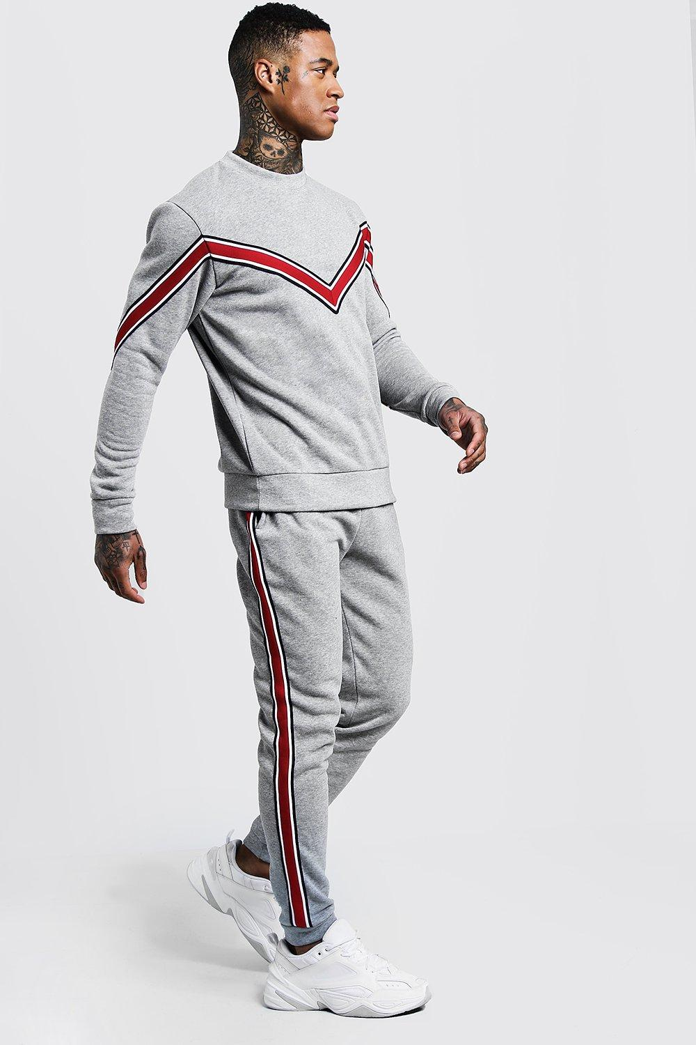 Купить Tracksuits, Chevron Tape Detail Sweater Tracksuit, boohoo