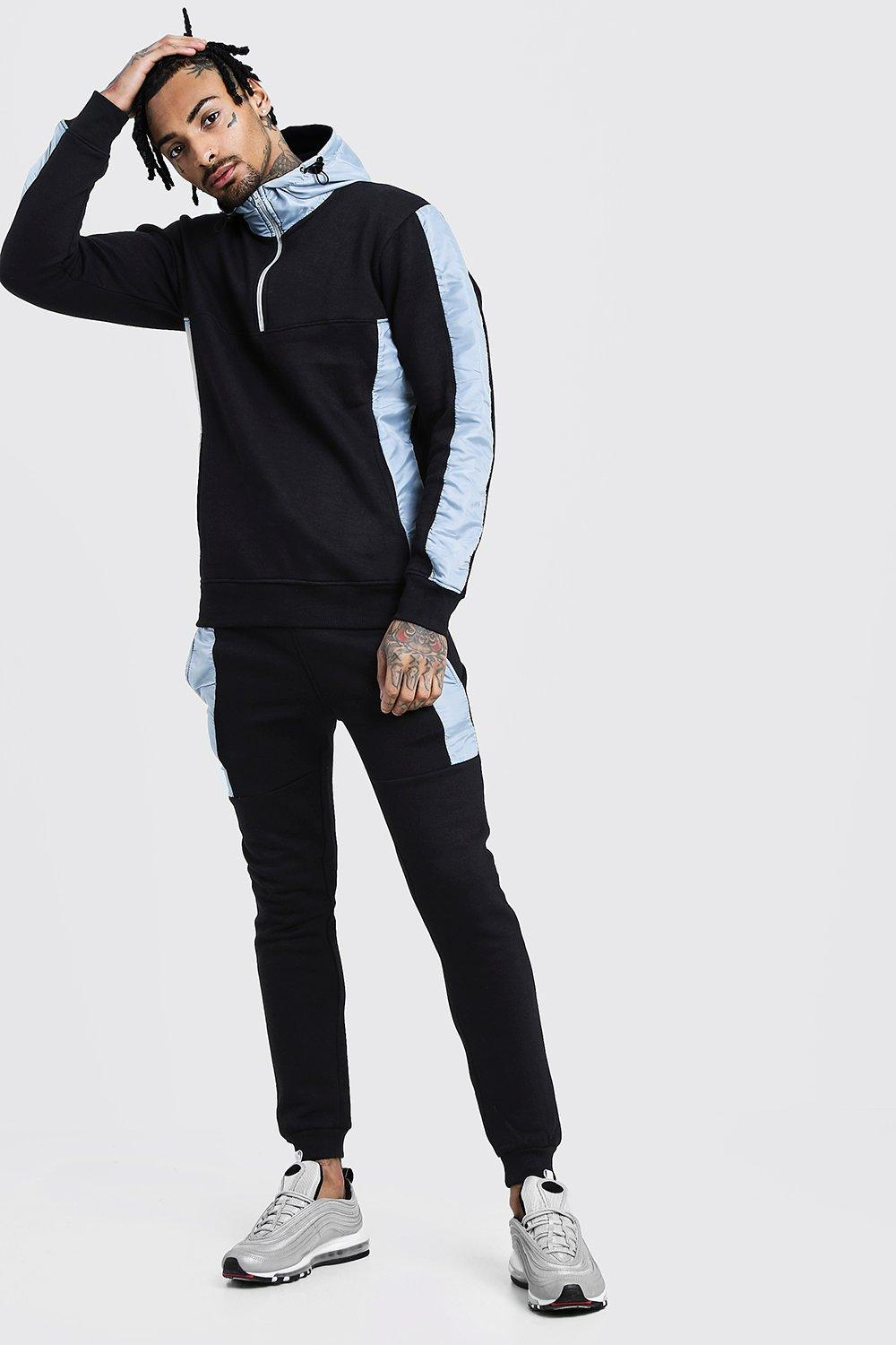 Купить Tracksuits, Half Zip Hooded Tracksuit With Reflective Panels, boohoo