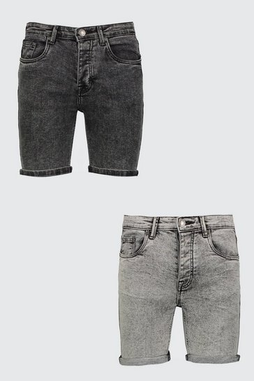 Multi 2 Pack Acid Wash Denim Shorts In Skinny Fit