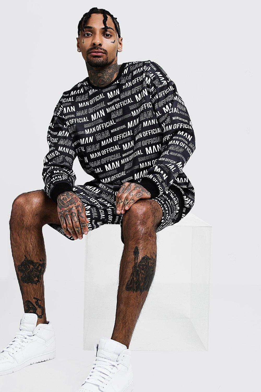 Спортивный костюм с шортами из неопрена с принтом MAN по всей поверхности фото