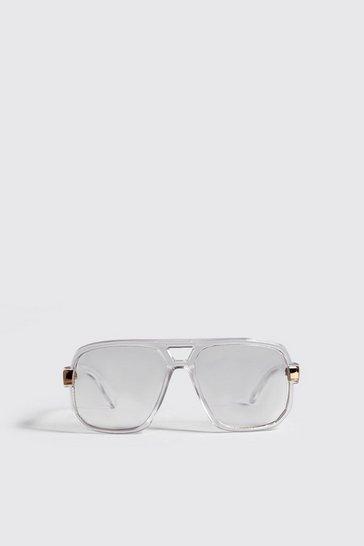 White Plastic Heavy Frame Fashion Glasses