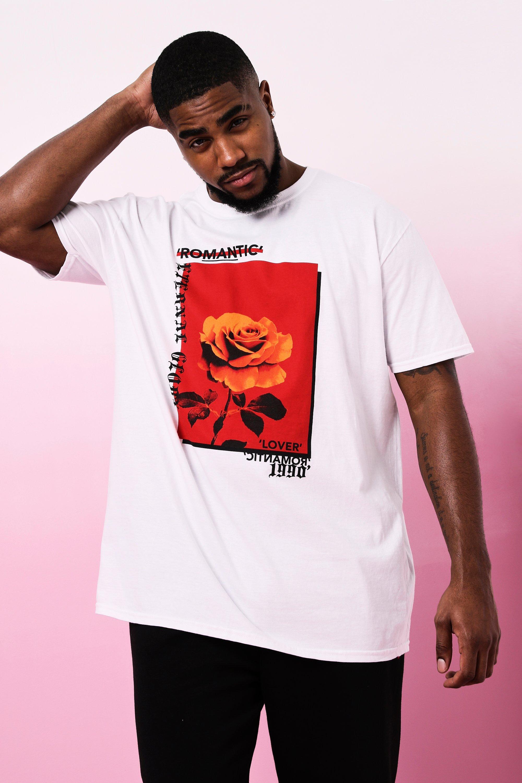 Купить Для крупных и высоких из коллекции <День Св. Валентина> Футболка с принтом Romantic Rose, boohoo