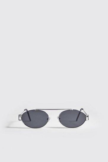 Silver Black Lens Round Metal Frame Sunglasses