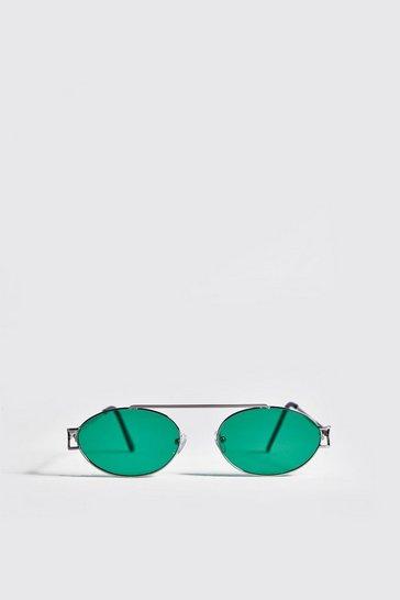Silver Green Lens Round Metal Frame Sunglasses