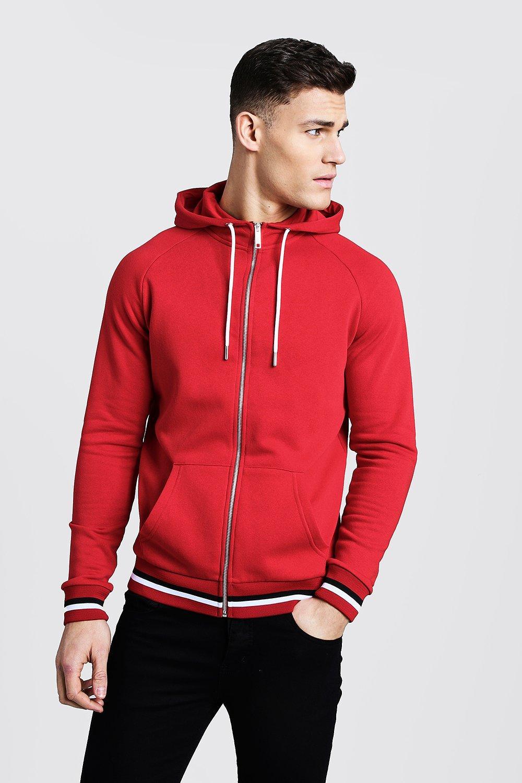 Zip Through Hoodie With Sports Rib Detail