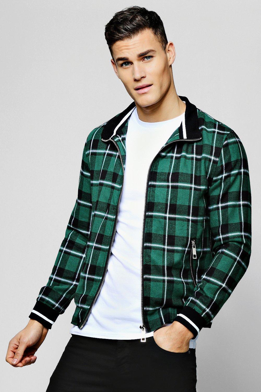 Купить Куртка-харрингтон в клетку из ткани в рубчик, boohoo