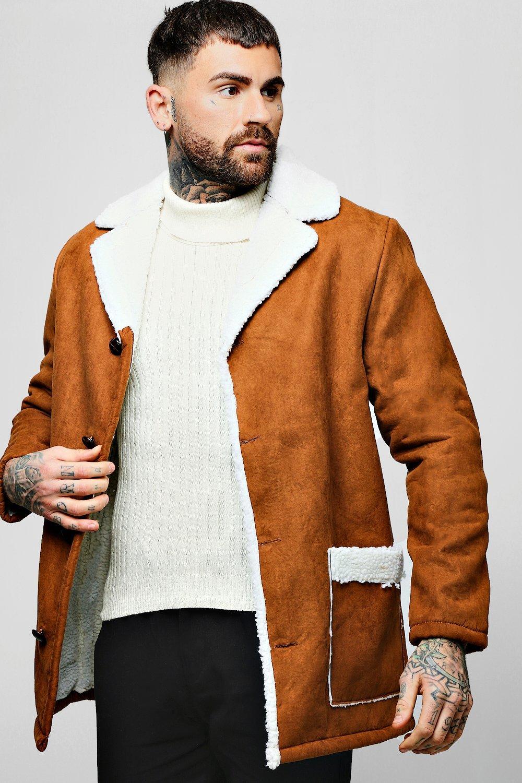 Купить Верхняя одежда, Куртка-авиатор из искусственной замши с подкладкой из искусственного меха, boohoo