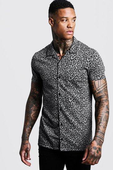 Black Leopard Jacquard Short Sleeve Revere Shirt