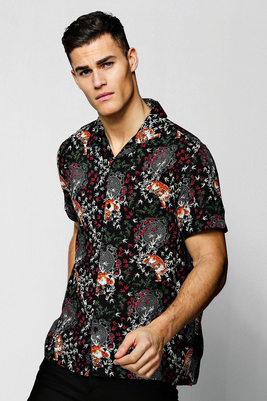 Купить Рубашки, Рубашка из вискозы с отложным воротником, с короткими рукавами с принтом в виде тигров, boohoo