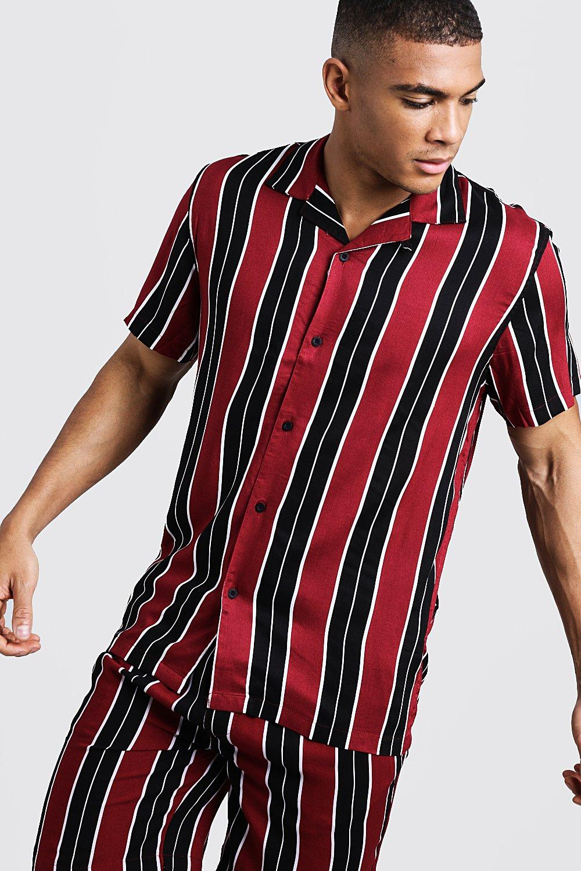 Купить Рубашка из вискозы в широкую полоску с короткими рукавами с отложным воротником, boohoo