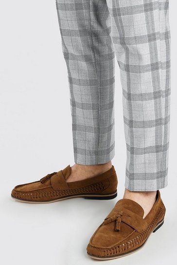 Tan Faux Suede Weave Tassel Loafer