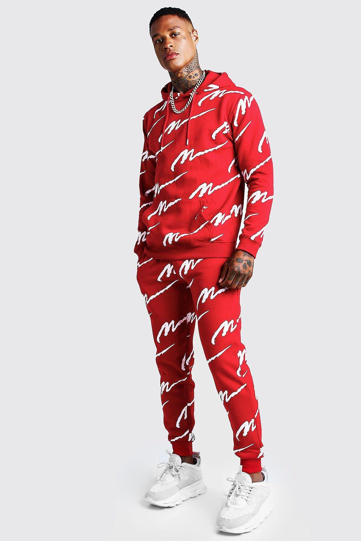 Спортивный костюм с капюшоном с принтом MAN по всей поверхности фото