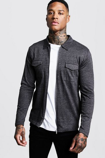 Charcoal Jersey Utility Zip Overshirt