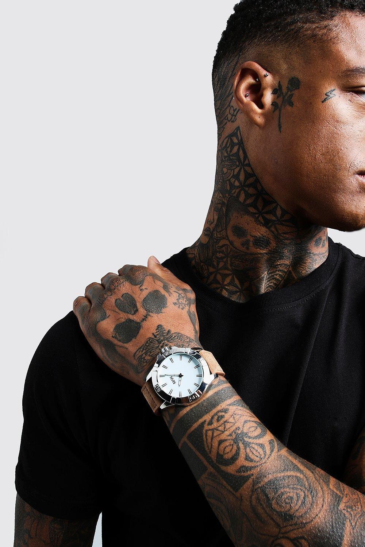 Купить Наручные часы, Часы с округлым циферблатом и ремешком из искусственной кожи, boohoo