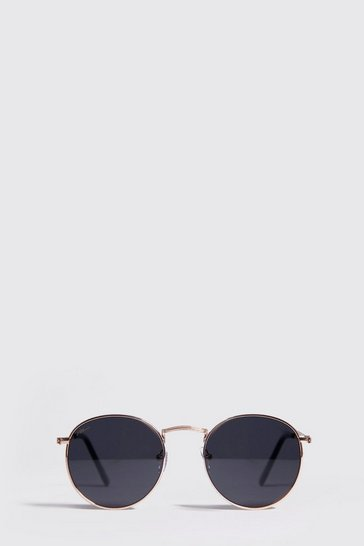 Smoke MAN Branded Round Sunglasses With Case