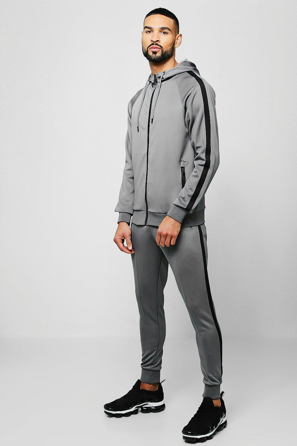Купить Tracksuits, Colour Block Tricot Zip Through Tracksuit With Tape, boohoo