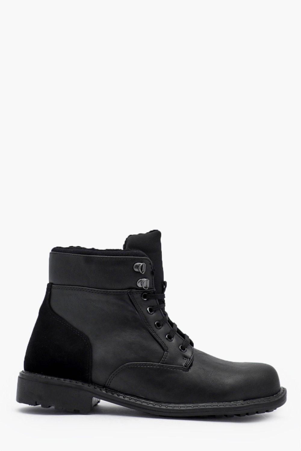 Купить Обувь, Faux Leather Lace Up Worker Boot, boohoo
