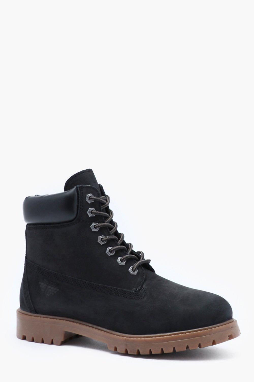 Купить Обувь, Кожаные ботинки из вощеной замши со вставками из натуральной кожи на шнуровке, boohoo