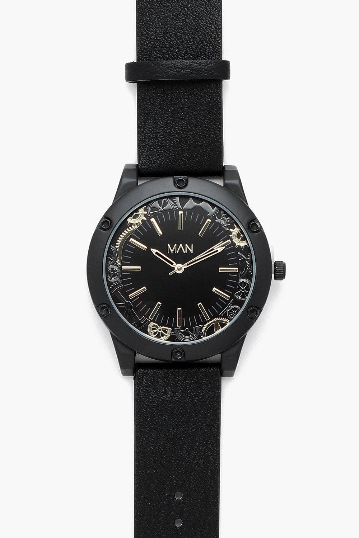 Купить Наручные часы, Крупные черные часы с отделкой Cog, boohoo