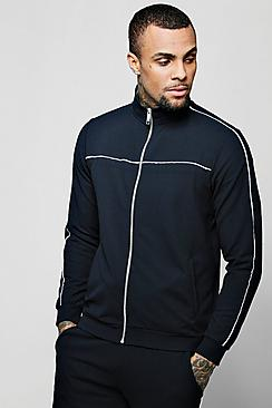 Crepe Piped Detail Smart Track Top